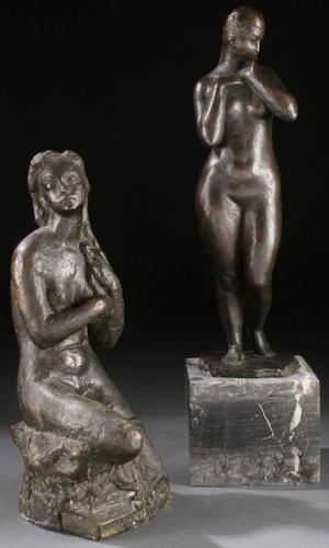 PAIR OF UKRANIAN BRONZE STATUES, CIRCA 1930