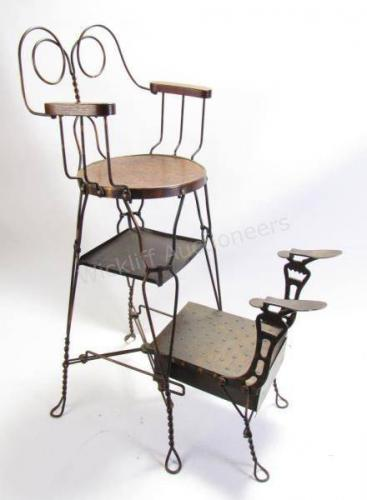 Antique Shoeshine Chair, Wire Frame