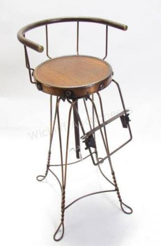 Antique Child's Barber Chair, Wire Frame