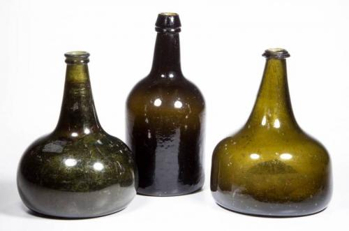 ASSORTED EUROPEAN BLACK GLASS WINE / SPIRITS BOTTLES, LOT OF THREE