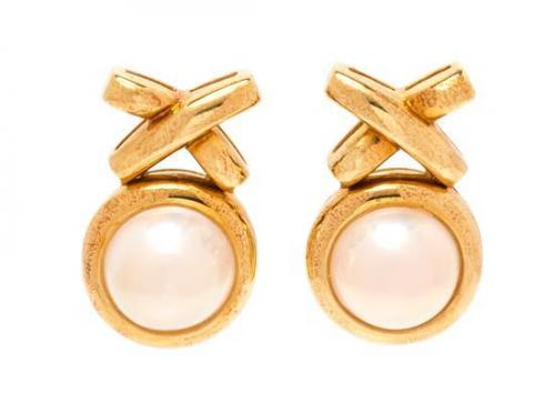 730b8d09b A Pair of 18 Karat Yellow Gold and Cultured Mabe Pearl Earclips, Paloma  Picasso for Tiffany & Co., 9.80 dwts.