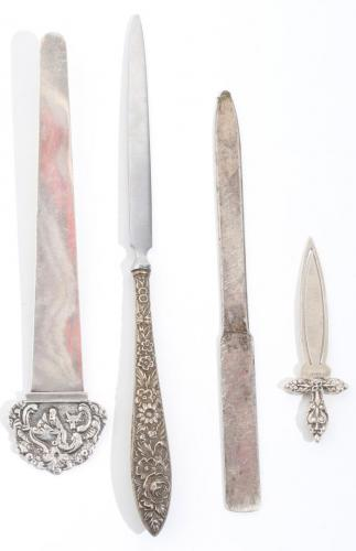 Group Silver Letter Openers & Bookmarks w. Tiffany