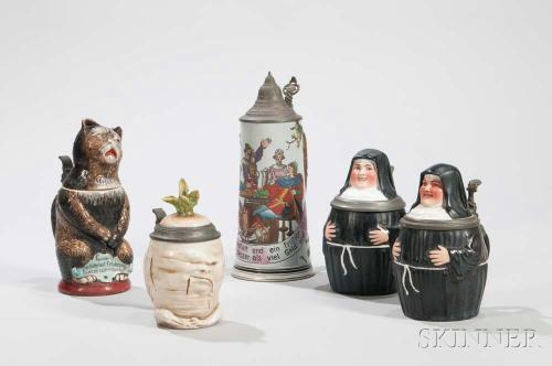 Five Ceramic Beer Steins