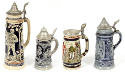 GERMAN COLLECTABLE BEER STEINS FOUR
