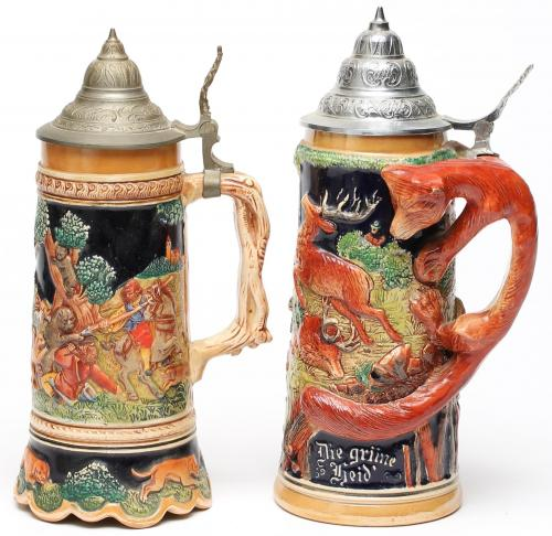 2 German Decorative Beer Steins, 1 a Music Box