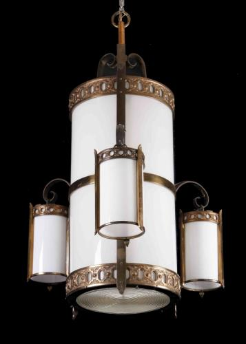 (2) Bronze and milk glass chandeliers, 48NULLh
