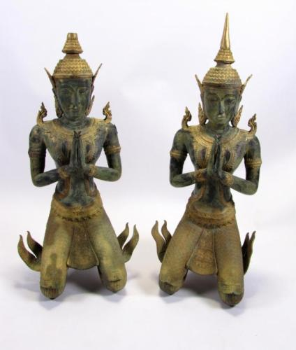 Pair of Monumental Bronze Thepanom Statues