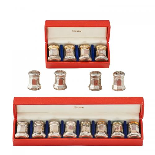 CARTIER STERLING SILVER SALT AND PEPPER SHAKERS