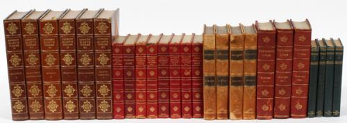 A GROUP OF 25 LEATHER BOUND BOOKS