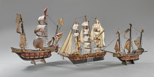 Group of Three Hand Made Model Ships, early 20th c