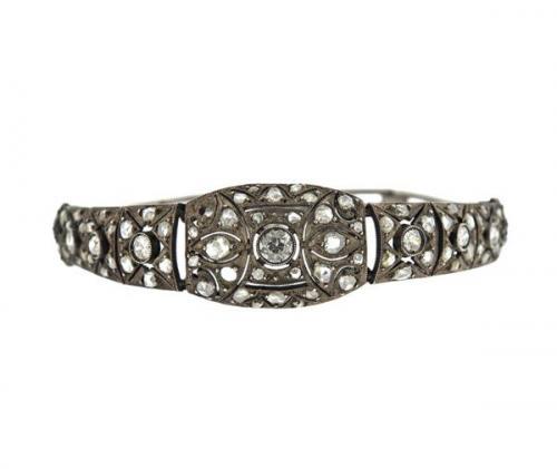Antique Silver Diamond Bracelet