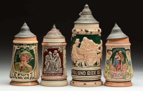 Lot Of 4: Vintage German Beer Steins.