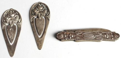 Pair of S. Kirk Silver Bookmarks & a Pocket Knife