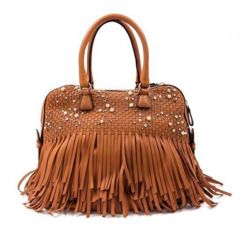 0ca69542b5e A Valentino Garavani Brown Leather Handbag, 15NULL x 12NULL x 6NULL.