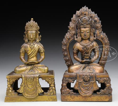 PAIR OF GILT BRONZE STATUES.