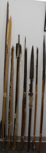 Lot of South American Spears, Bows, Arrows