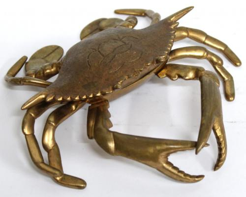 Vintage Brass Crab-Form Inkwell
