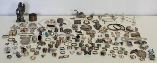 JEWELRY. Large Lot of Assorted Silver Jewelry and
