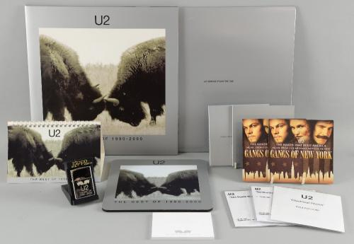 U2 - The Best Of 1990 - 2000 double vinyl, Zippo lighter, mouse mat, calendar, post-it notes, double 12 inch vinyl remix pack