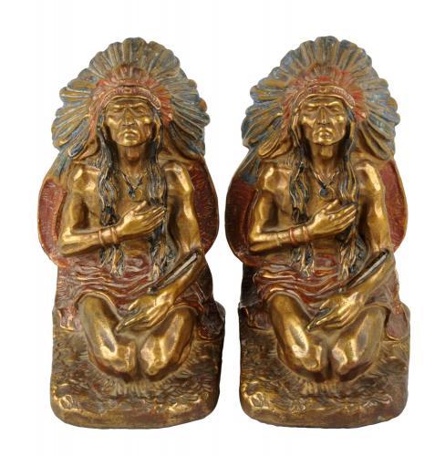 Lot Of 2: J.L. Lambert Polychrome Bronze Clad Indian Bookmarks.