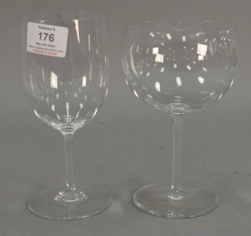 Set of red and white Baccarat stems, nineteen total including ten red wine and nine white wine. ht. 7 1/4in. & 6 3/4in.
