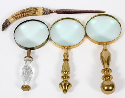 THREE ANTIQUE MAGNIFYING GLASSES & A LETTER OPENER