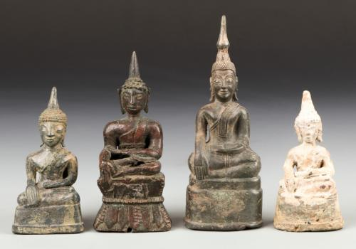 4 Antique Bronze Buddha Statues