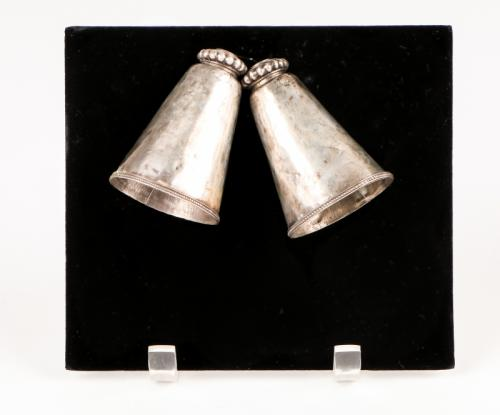 Pair of Rare Antique Silver Indian Cow Bell Pendants, Karnataka