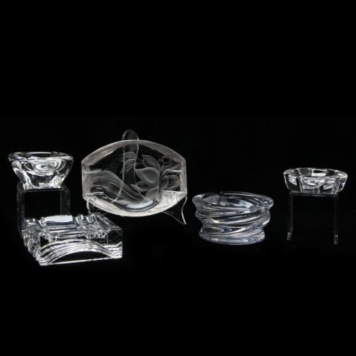 Five Crystal Ashtrays