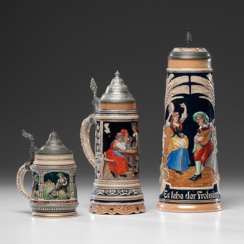 German Ceramic Relief Steins