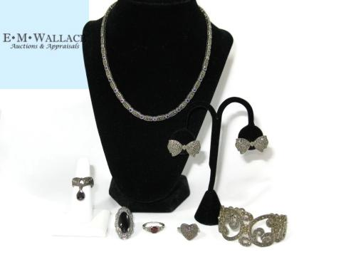 STERLING JEWELRY WITH MARCASITES & GEMSTONES