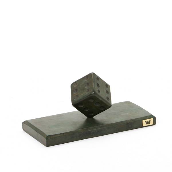 Andreas Wargenbrant: Dice, 2016. Signed and dated in the bottom. Figure of green patinated bronze. H. 10 cm, L. 20 cm.