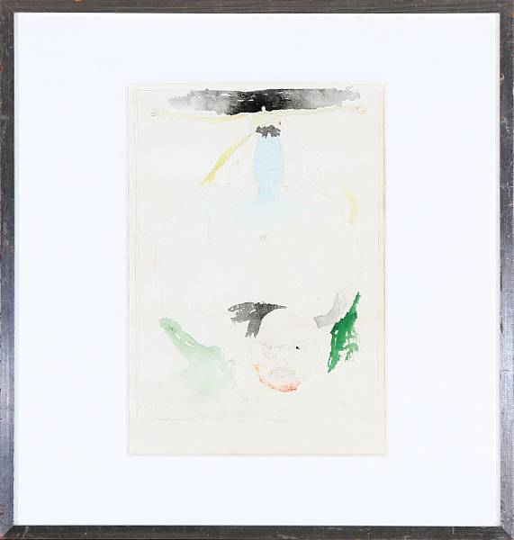 Sven Dalsgaard: Untitled. Unsigned. Watercolours and pencil on paper. Visible size 33 x 23 cm.