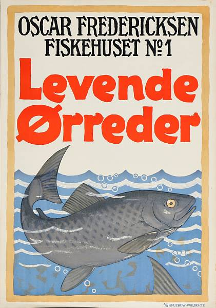 "Danish artists': ""Eltra"", ""Levende Ørreder"" and ""Øresunds Kystfart"". Unsigned. Lithographic posters in colours. Sheet size 85 x 60. (3)"