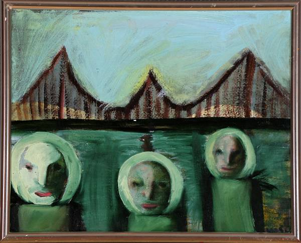 Wiliam Skotte Olsen: Composition with faces. Signed WSO. Oil on board. 40 x 50 cm.