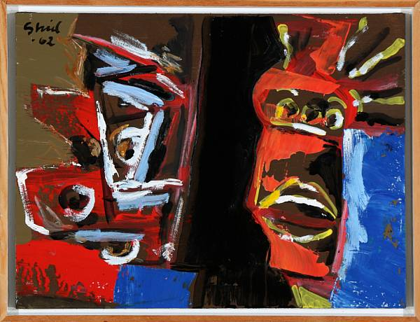 "Hardy Strid: ""Mask"". Signed Strid 62. Acrylic on board. 31 x 40 cm."