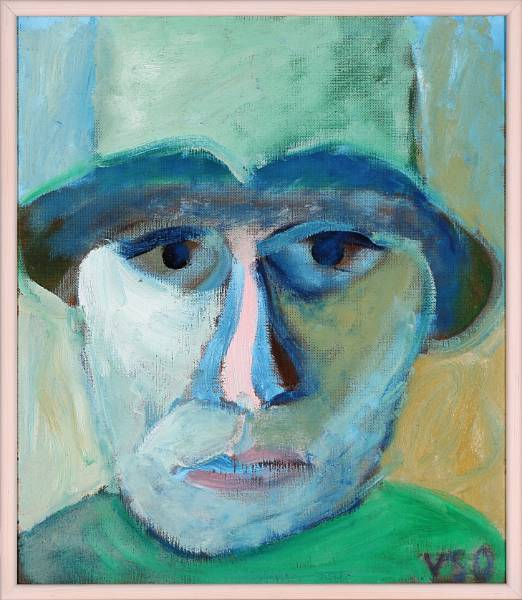 Wiliam Skotte Olsen: Portrait. Signed VSO. Oil on plate. 62 x 54 cm.