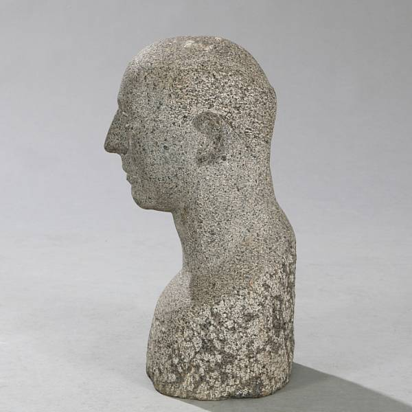 Ubekendt kunstner: A male portrait. Unsigned. Granite. H. 47 cm.