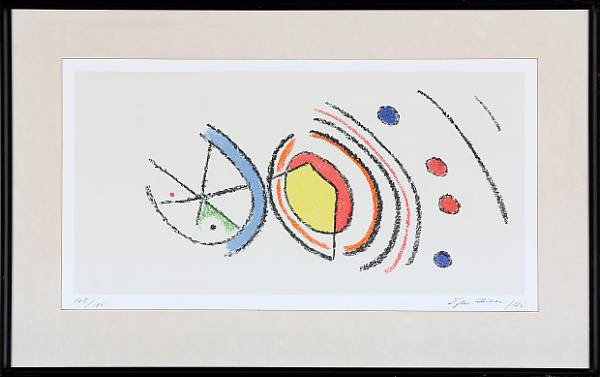 Ejler Bille: Composition. Signed Ejler Bille 75, 109/125. Lithograph in colours. Visible size 28 x 53 cm.