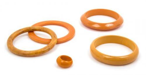 A Group of Yellow Bakelite Jewelry,