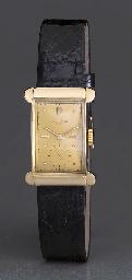 Patek Philippe. A fine and rare 18K pink gold rectangular-shaped wristwatch