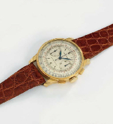 Longines. A fine and rare 18K gold chronograph wristwatch with two-tone silvered dial