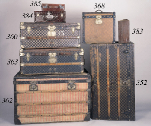 A Louis Vuitton gentleman's dressing case of brown leather, initialled M.S in the front, lock number 177, the interior lid lined in maroon gros grain silk, the base in maroon leather, fitted with silver topped flasks and ebony backed brushes, mirror and a manicure set and containing three small leather wallets, stamped Louis Vuitton 759994--16 x 11 x 5 1/2in. (40 x 27 x 13cm.), two flasks missing
