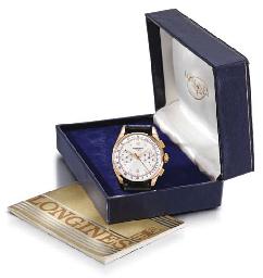 Longines. An 18K pink gold chronograph wristwatch