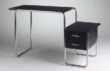 B91, a black lacquered wooden and chromium-plated tubular steel desk