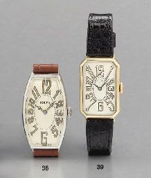Rolex. A rare chrome curved tonneau-shaped hinged wristwatch