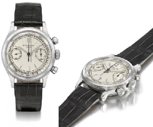 Patek Philippe. An extremely fine, rare and attractive stainless steel water-resistant chronograph wristwatch with two-tone silvered dial