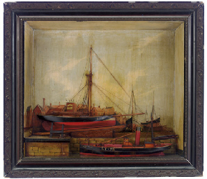 A 19th century shadow box depicting a ship yard