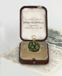 PATEK PHILIPPE. A RARE LADY'S 18K GOLD, DIAMOND AND ENAMEL KEYLESS LEVER PENDANT WATCH WITH ORIGINAL BOX AND CERTIFICATE