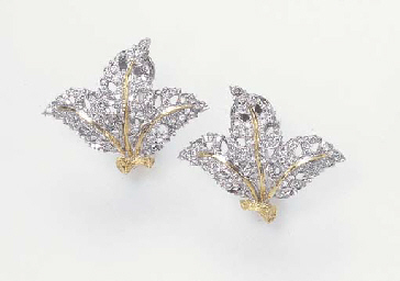 A PAIR OF DIAMOND AND GOLD EAR CLIPS, BY MARIO BUCCELLATI